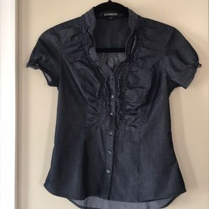 Express Tops - Express Ruffle Button Down Top Sz XS